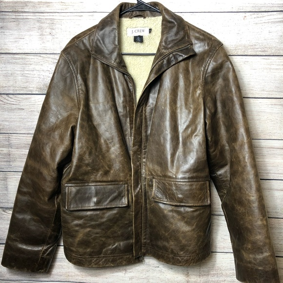 c490cf1a7 J Crew Sherpa Lined Brown Leather Bomber Jacket